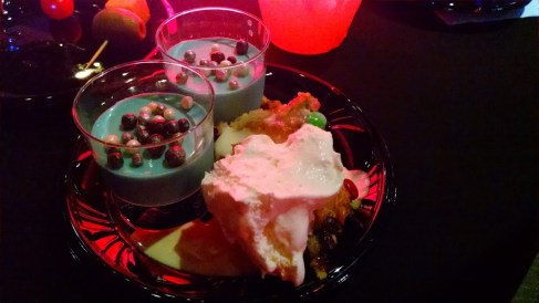 Blue Milk panna cotta, bread pudding with whipped cream