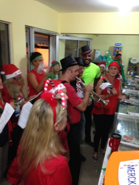 Caroling at the pharmacy