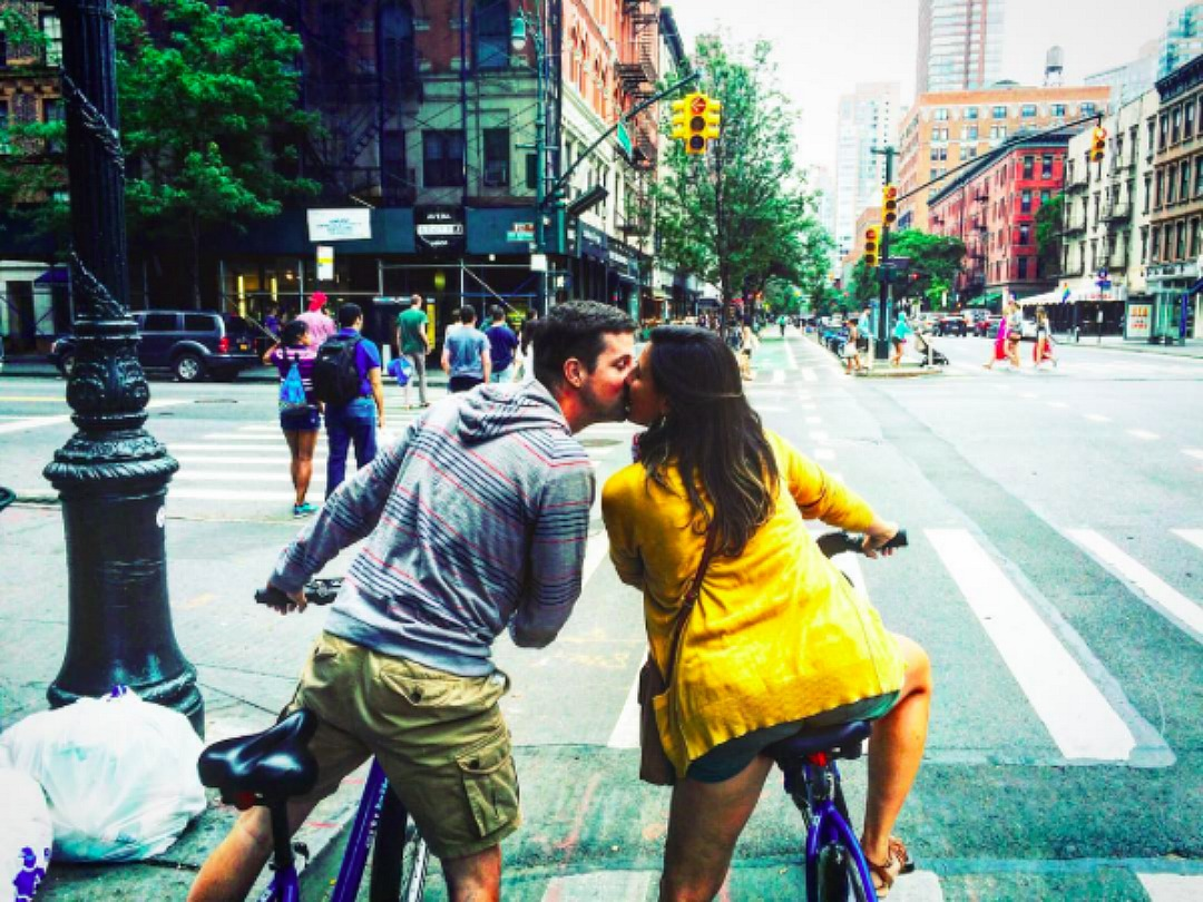 celebrating our anniversary bike riding in new york city