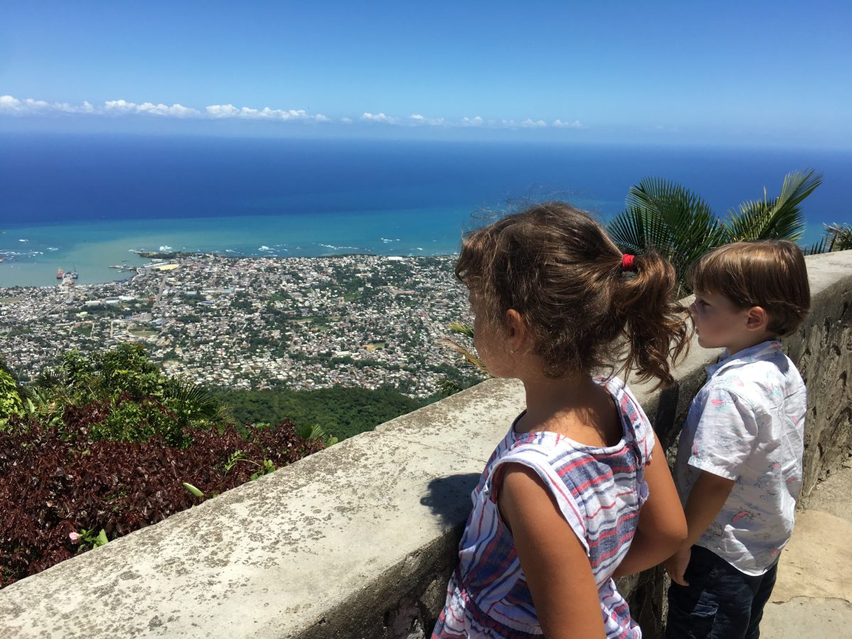 kids at the top of teleferico Puerto Plata