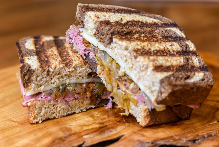 Grilled Pastrami and Cheese with Caramelized Onions and Caraway Whiskey Mustard