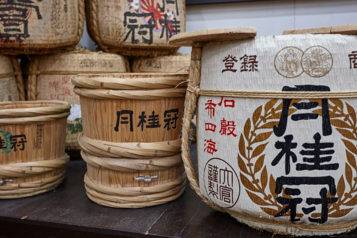 Traditional sake barrels at Gekkeikan Okura Sake Museum in Kyoto Prefecture, Japan