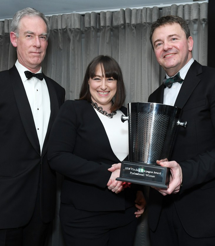 Huon Hooke, Leanne Altmann and John Noble at the Vin de Champagne Awards 2018