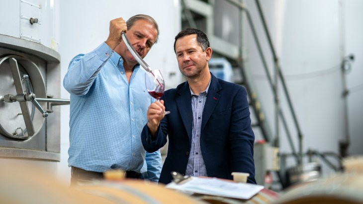 Ricky Ponting and Ben Riggs of Ponting Wines