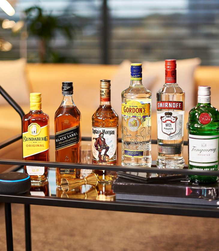 Amazon Alexa integrated with a bar cart
