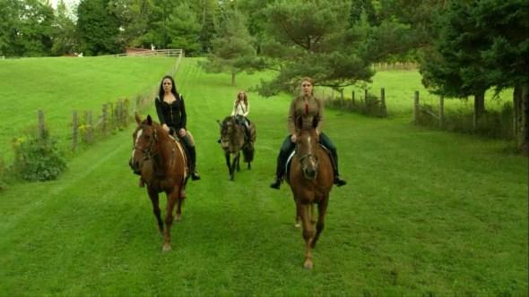 Bo Kenzi and Lou Ann on horses in Let Them Burn