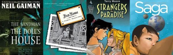 Sandman Fun Home Stranges in Paradise Saga covers