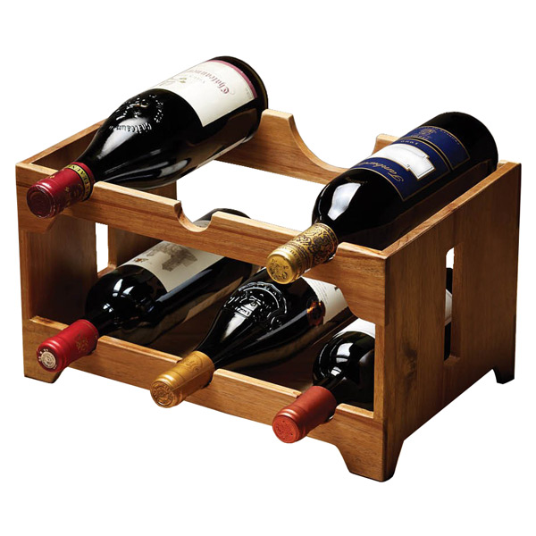 6 Bottle Wooden Wine Rack Natural Elements Acacia 6 Bottle Wooden Wine Rack