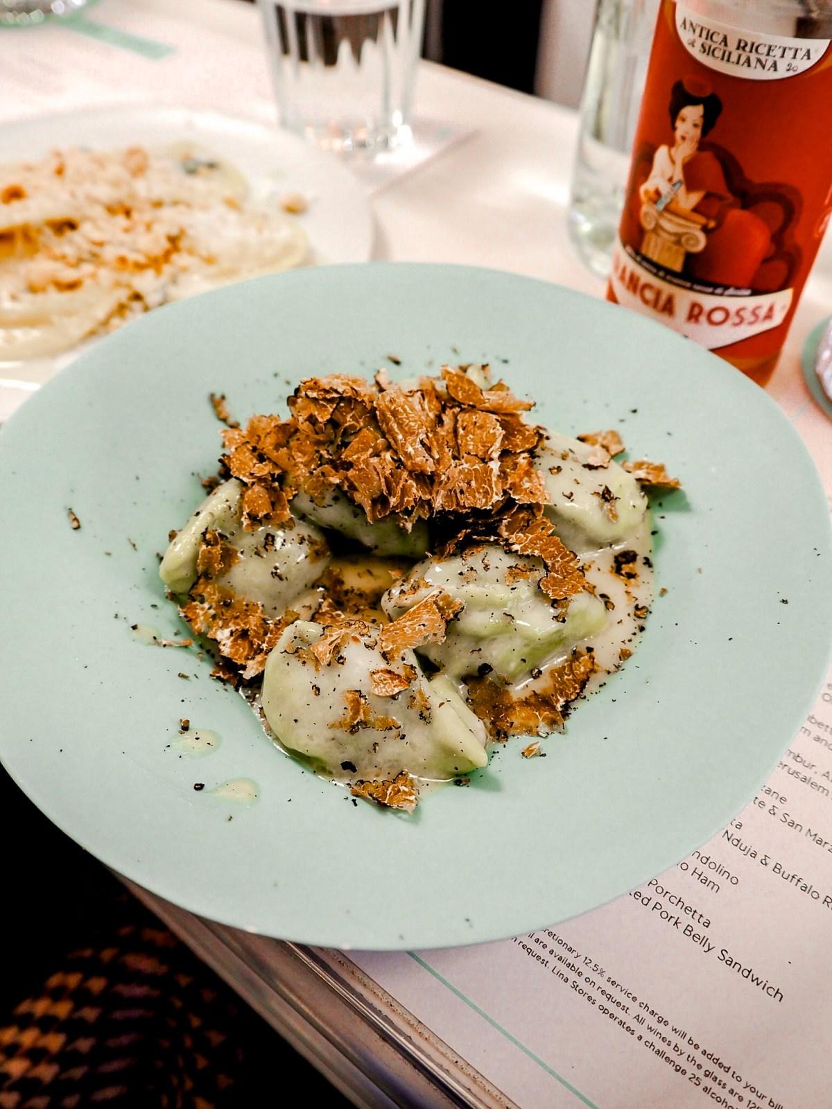 Truffle Pasta dish at Lina Stores london