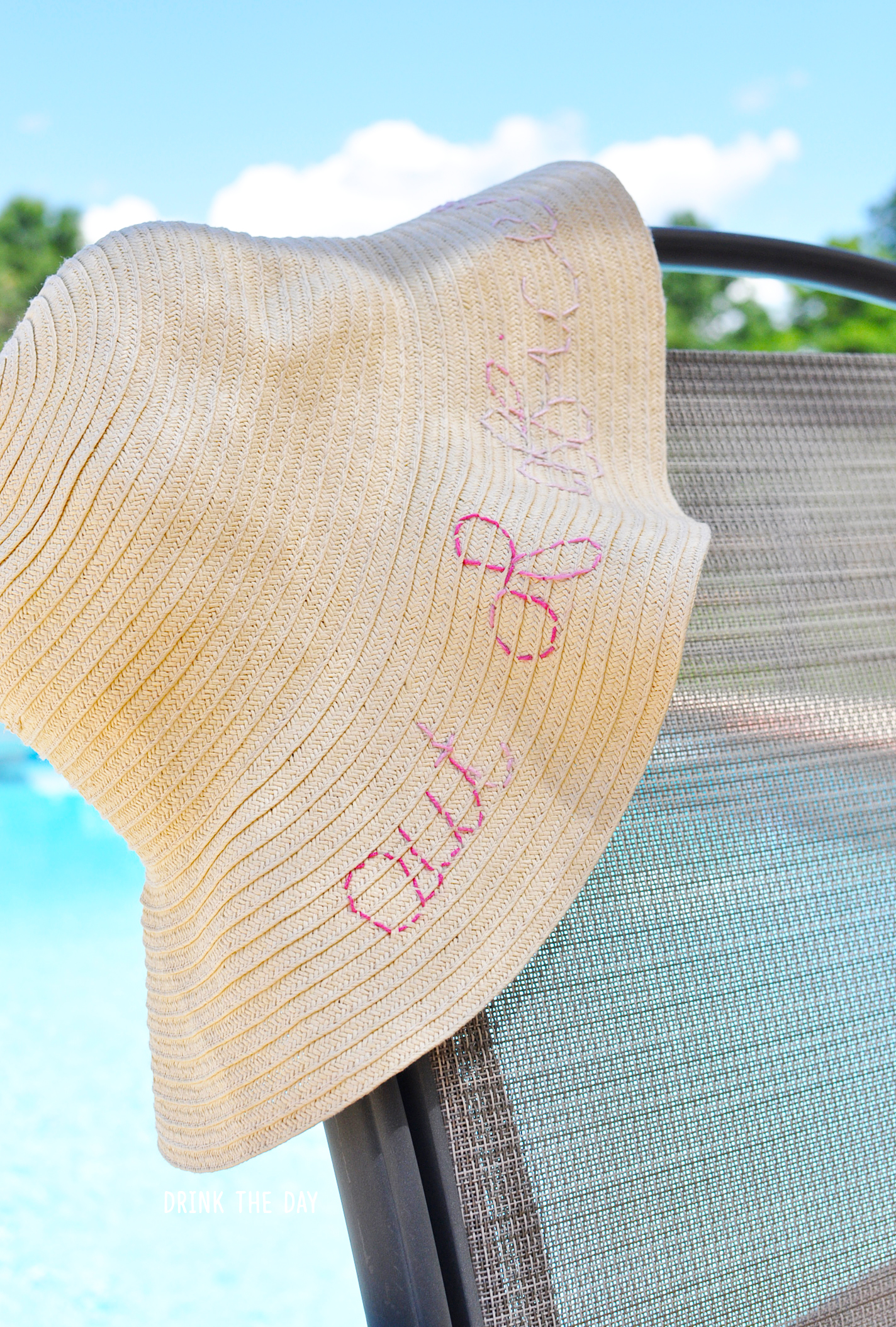 DIY Ombre Embroidered Beach Hat | Drink the Day