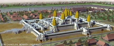 Artist's impression of settled areas in and around Angkor Wat complex.  Credit: Tom Chandler, Monash University