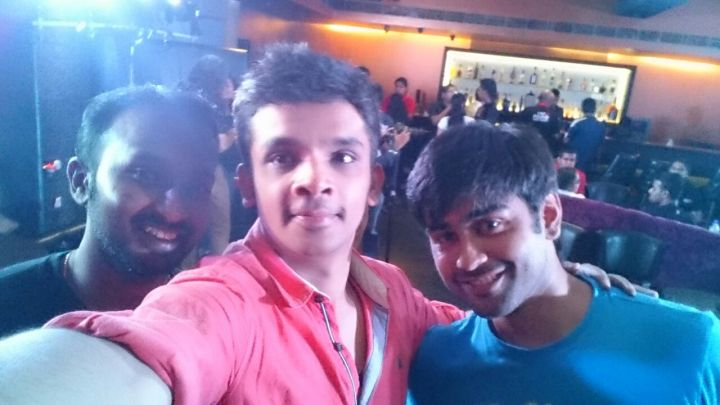 Ranjith, Saurabh and Chirag playing the selfie trick
