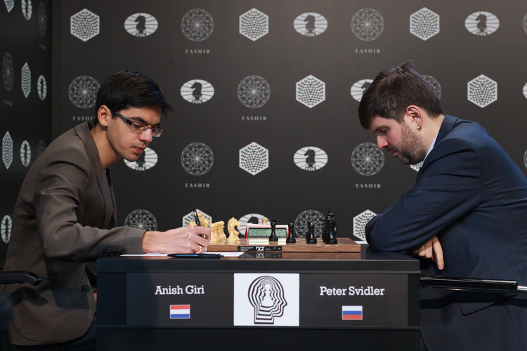 Anish Giri vs Peter Svidler: (Picture courtesy WORLD CHESS Press Office/Evgeny Pogonin)