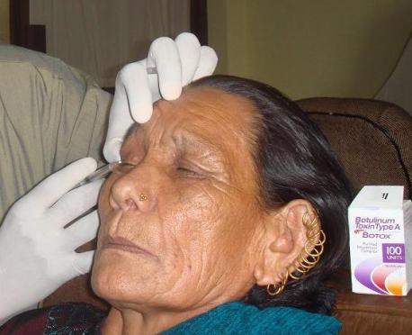 an old woman getting her wrinkles treated