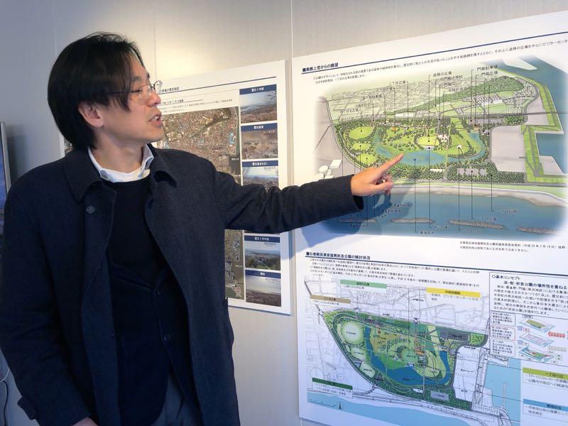 中川さんは震災復興祈念公園の完成予想図も解説してくれた。