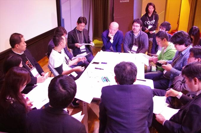 ピッチの後で実施された各起業家別の戦略会議の様子
