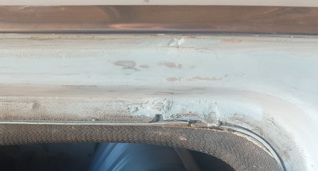 Close up of the sanding and 50 years of door frame abuse
