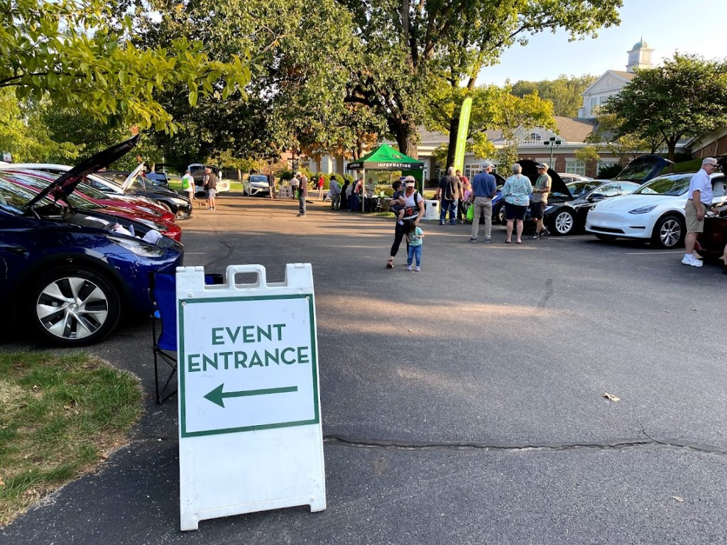 Electric cars on display to celebrate National Drive Electric Week on September 28, 2021 in Dayton Ohio shared by Drive Electric Dayton