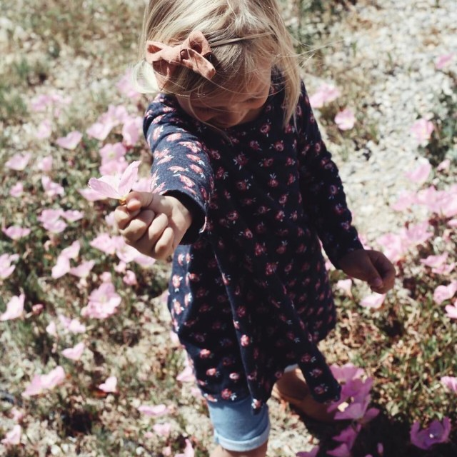 Little miss is always picking flowers wherever we go Andhellip
