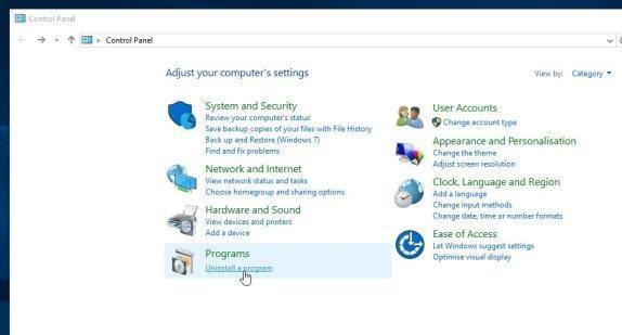 Uninstall driver restore program option