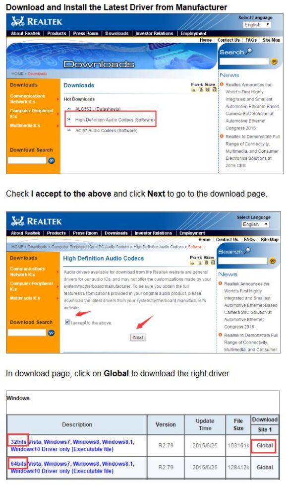 download realtek audio driver for windows 10 32 bit