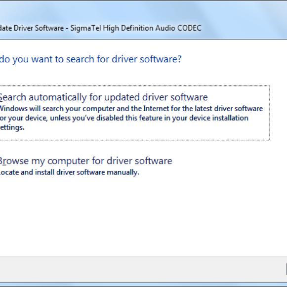 Update audio drivers in Windows 7