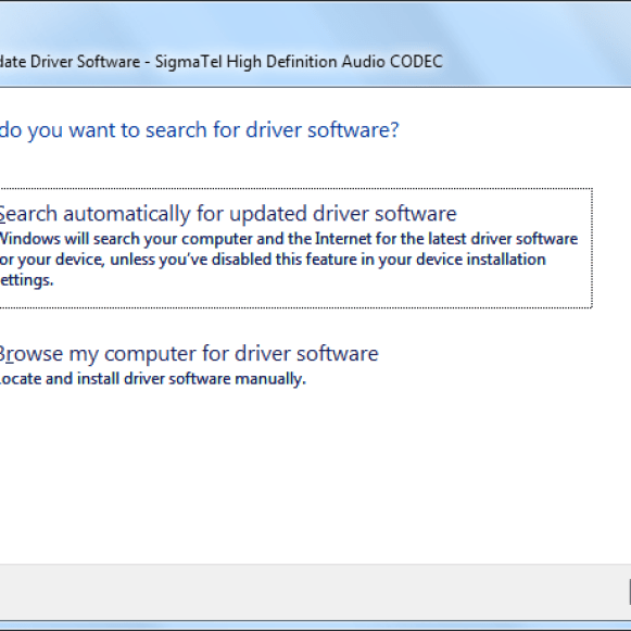 Update audio drivers in Windows 7