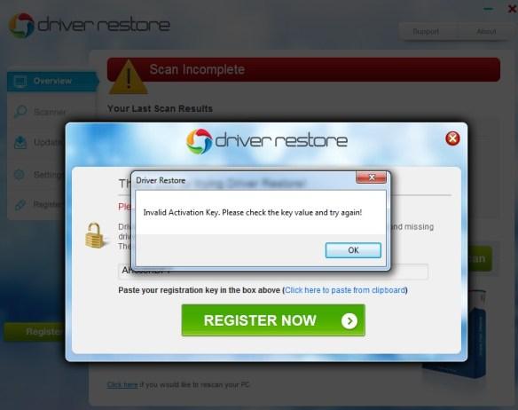 invalid activation key - Driver Restore Key