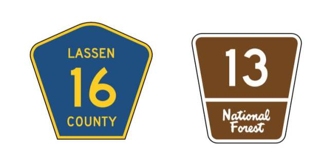 Know the basic shapes of road signs - county route and national forest route
