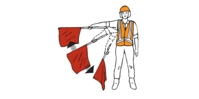 Question: Do you know what this flagger signal means?