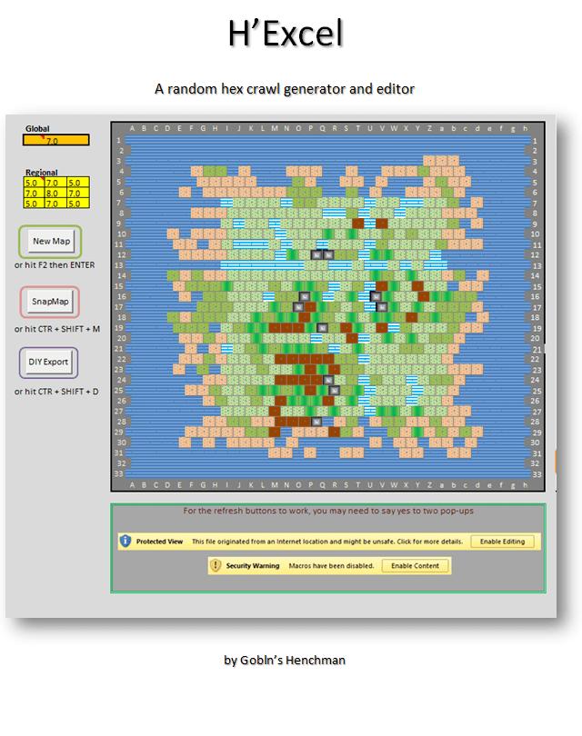 Random Map Generator : random, generator, H'Excel, Crawler, Random, Crawl', Generator, Using, Excel, Goblin's, Henchman, DriveThruRPG.com