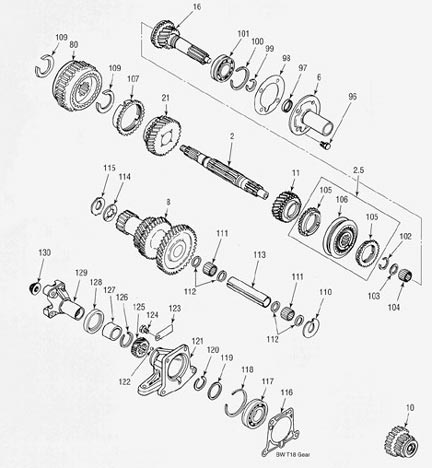 Ford Jeep T18 Transmission illustrated parts drawings