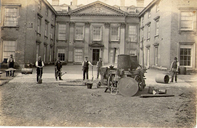 Tarmac contractors, installing the driveway of a stately home in 1906