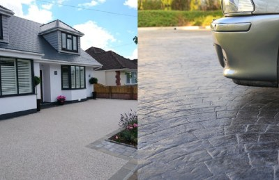 resin vs pattern imprinted concrete driveway