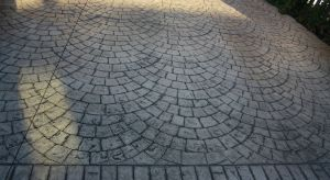 European fan design pattern imprinted concrete