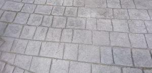 Steel grey colour pattern imprinted concrete driveway