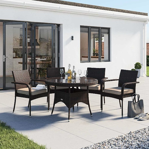 4 Rattan Garden Chairs and Small Round Dining Table Set in Chocolate and Cream roma