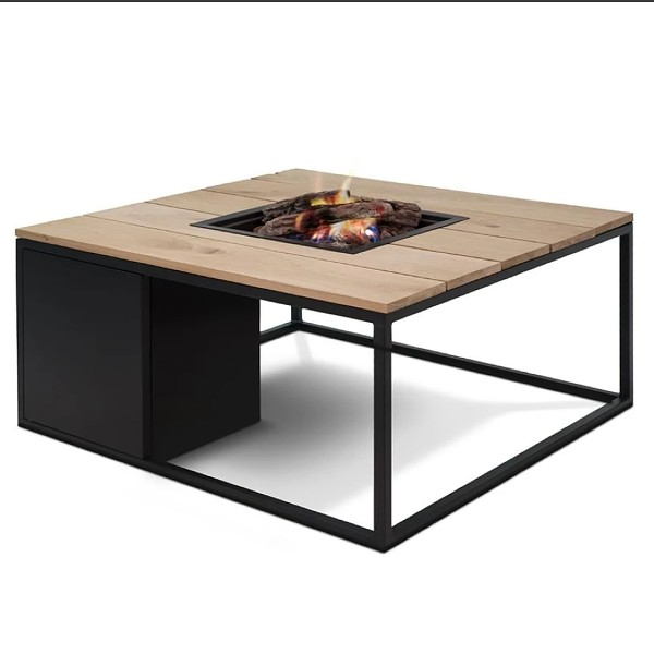 Black Fire Table with Teak Wood
