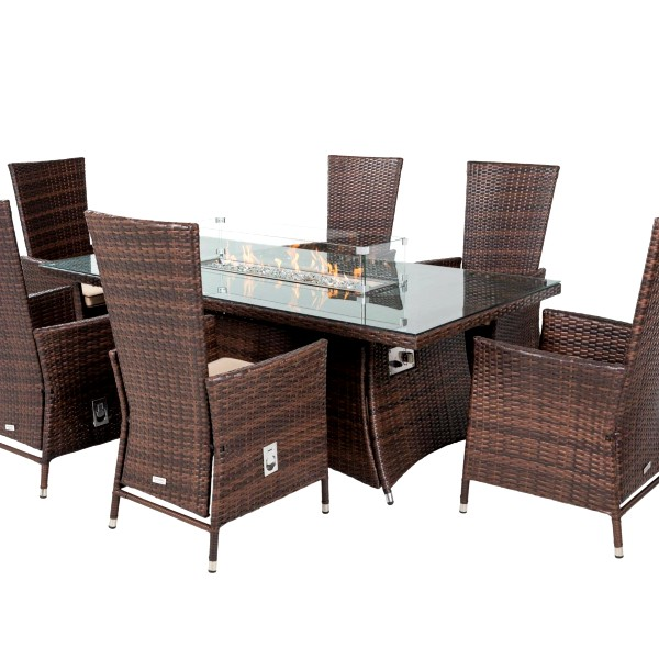 Cambridge 6 Reclining Chairs and Rectangular Fire Pit Table Set in Chocolate & Cream