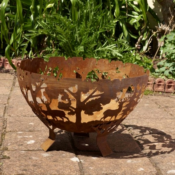 GLENDALE FOREST CIRCULAR HALF BALL FIRE BOWL BROWN