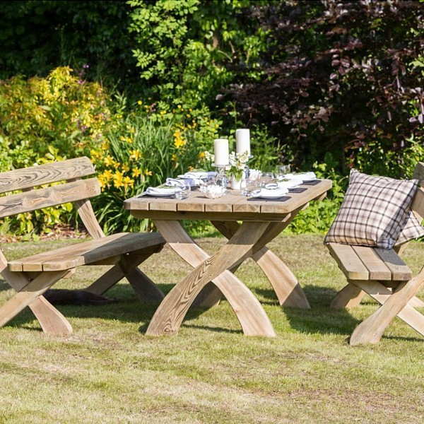 HARRIET GARDEN TABLE WITH 2 BENCHES