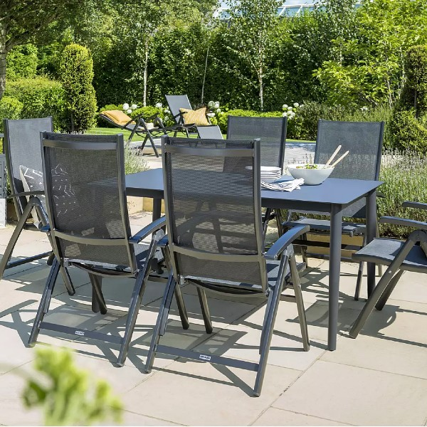 KETTLER Surf 6 Seat Multi-Position Reclining Chairs and Dining Table Set, Grey