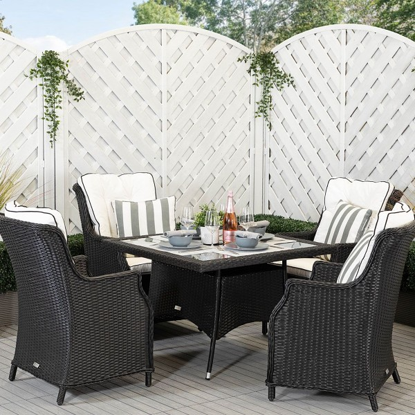 Riviera Dining Chairs and Square Dining Table in Black and Vanilla