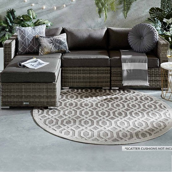 Florida 4 Piece Rattan Garden Corner Sofa Set in Grey