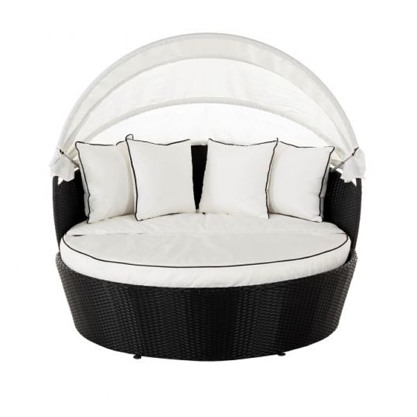Venice Rattan Garden Day Bed in Black and Vanilla
