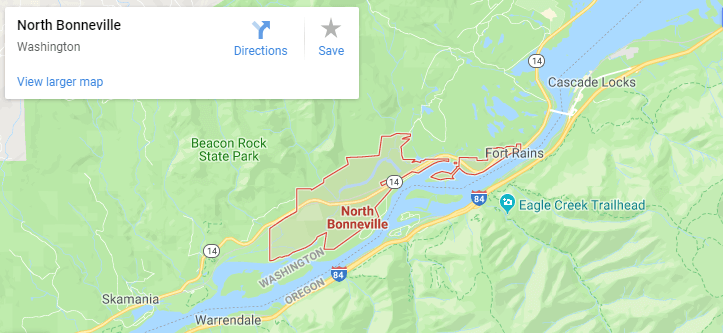 Maps of North Bonneville, mapquest, google, yahoo, bing, driving directions