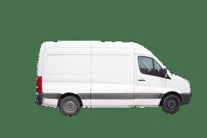 white Mercedes sprinter freelance courier parcel delivery van