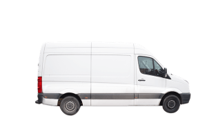 white Mercedes sprinter freelance courier parcel delivery van
