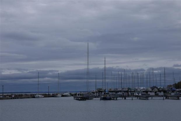 Bayfield Harbor -- most boats are out for the season.