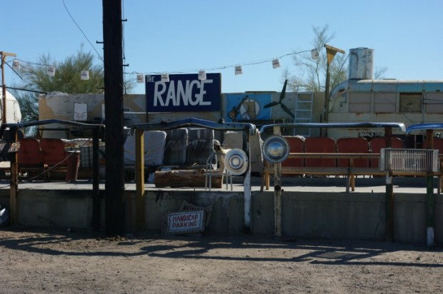The bar/concert hall at Slab City. This is the way to hear music: outside and dangerous.